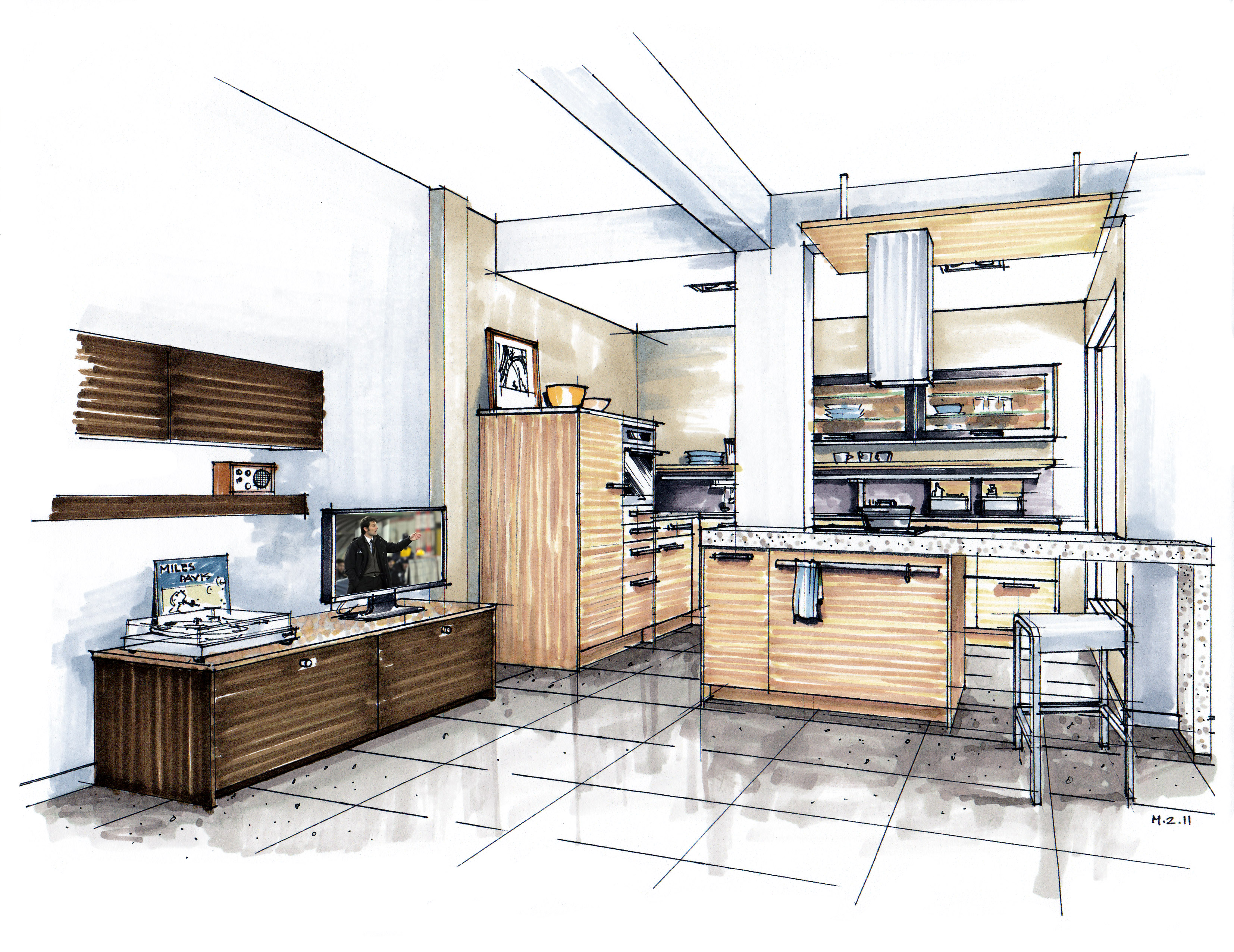 Interior design drawing with markers: my video courses ...  |Interior Design Color Sketches